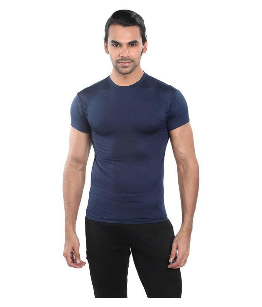 Bloomun Navy Polyester T-Shirt
