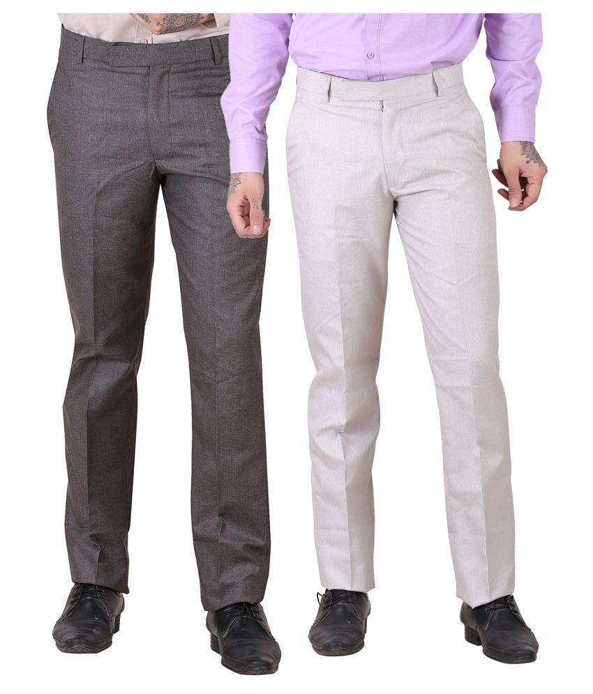 York Style Multi Slim -Fit Flat Trousers