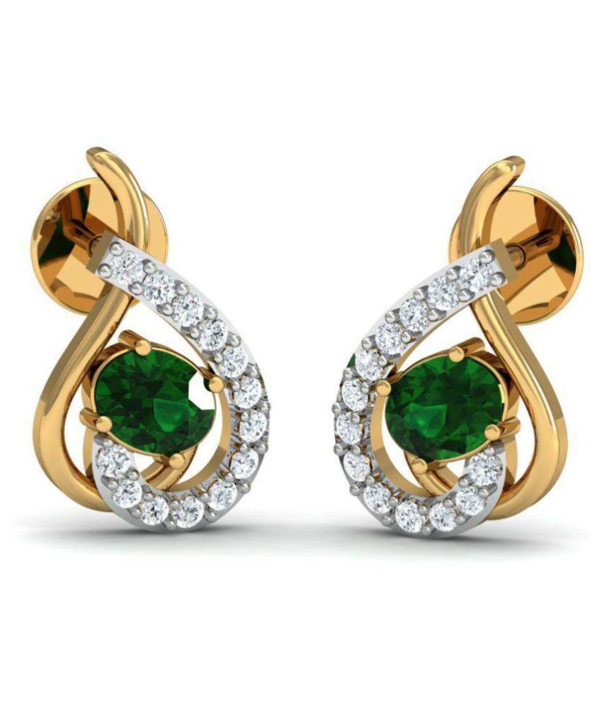 Dishis Designer Jewellery 18k BIS Hallmarked Gold Diamond Studs
