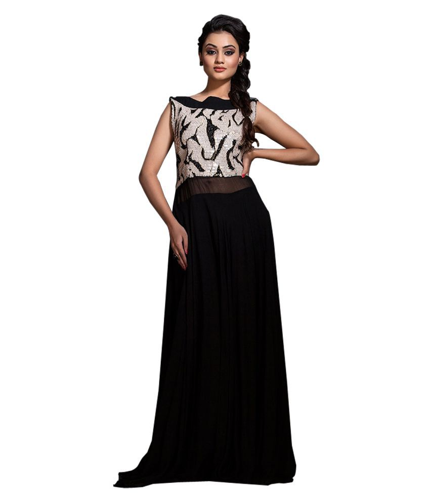 Fstore Black Georgette Dress Material