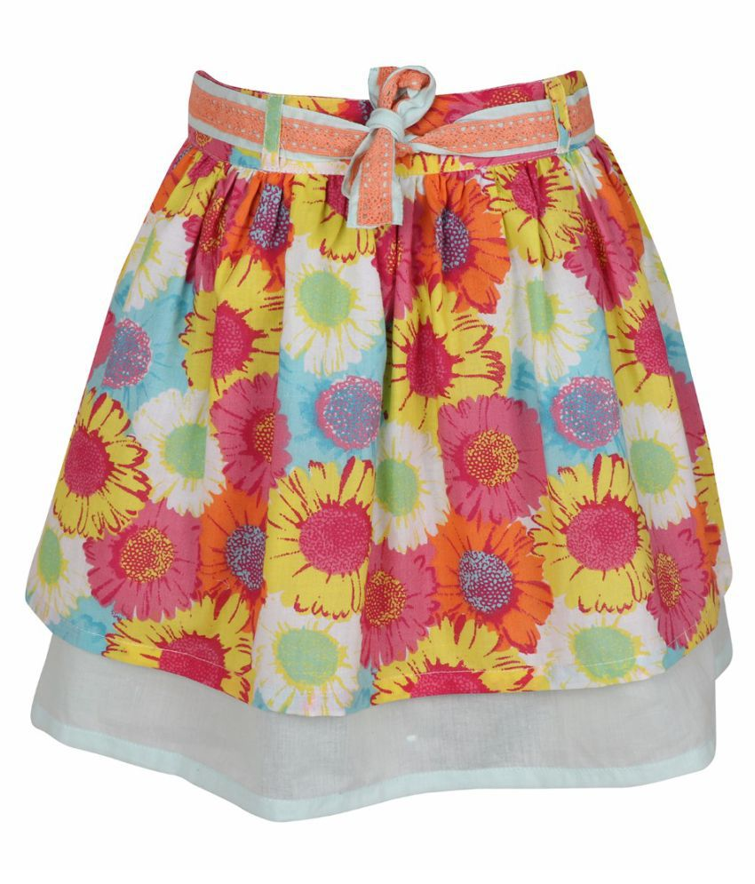 ShopperTree Girls Multicolor Floral Printed Skirt