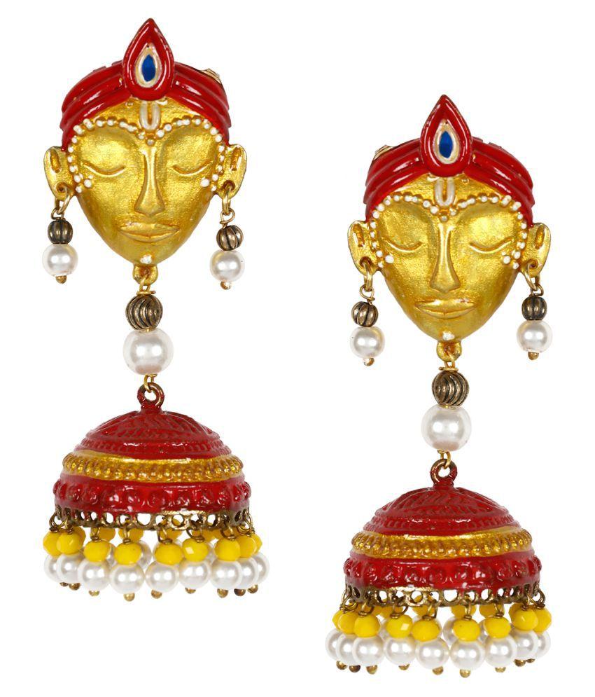 Penny Jewels Alloy Party Wear & Wedding Fashionable Bollywood Krishna Jhumki Earring Set For Women & Girls