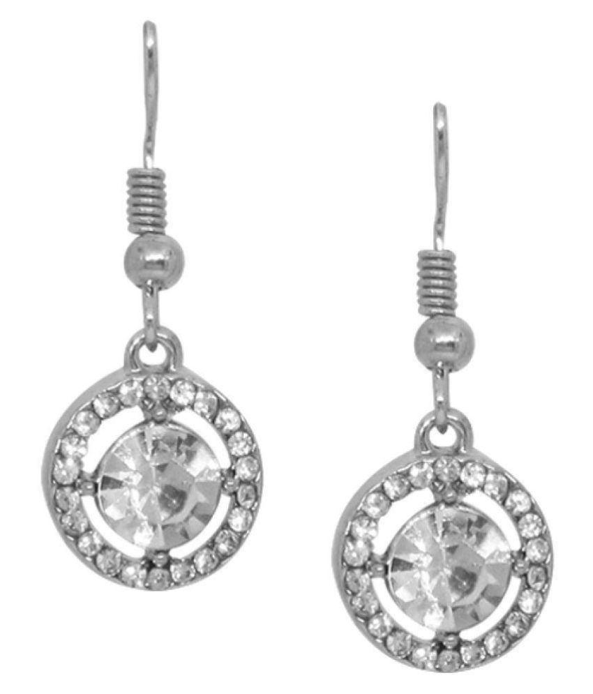 Silver Plated Earring With White Stone Studded