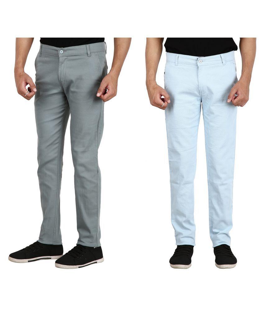 REDMAPLEJEANS Blue Regular -Fit Flat Chinos