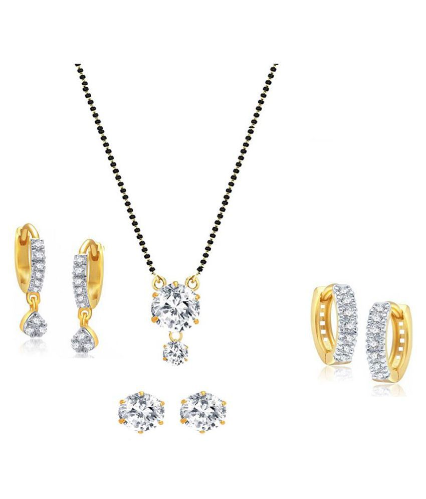 Designer Solitaire AD Mangalsutra with Black Beaded Chain and Combo of 3 Pairs of Earrings by GoldNera