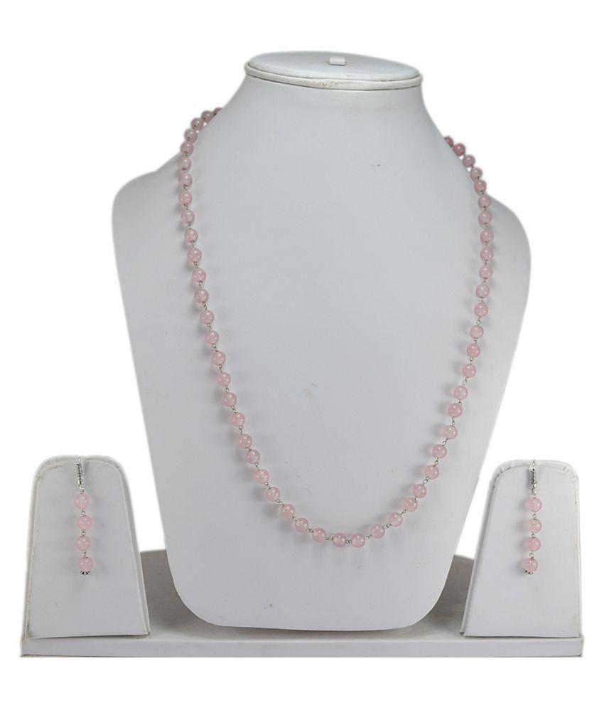 Silvesto India Rose Quartz Gemstone Necklace & Earring Set PG-132106