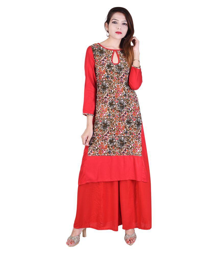 RANGABATI Red Rayon Straight Stitched Suit