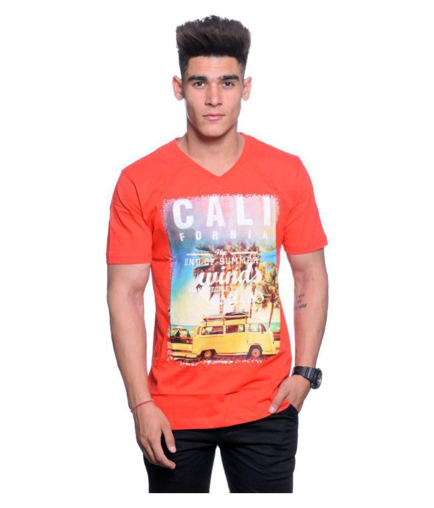 Hunkmart Orange V-Neck T-Shirt
