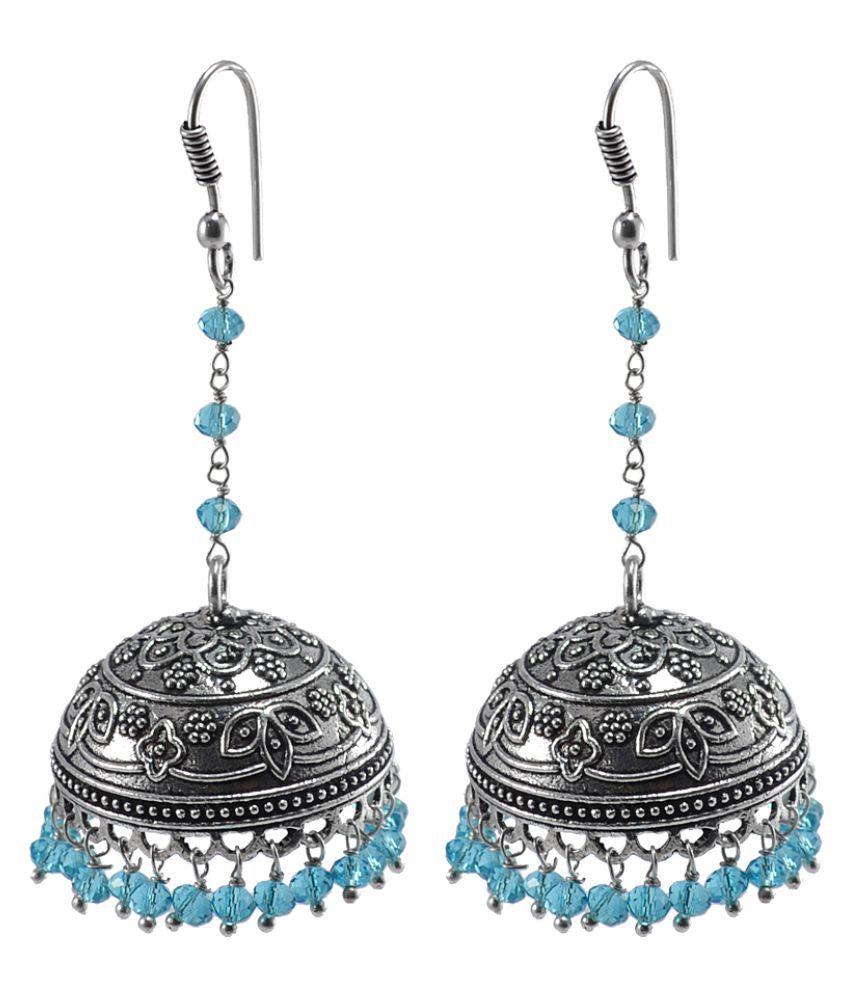 Antique Oxidized Finish Traditional Style Jhumka-Blue Topaz Crystal Beads Jaipur Jewellery-Silvesto India PG-106647