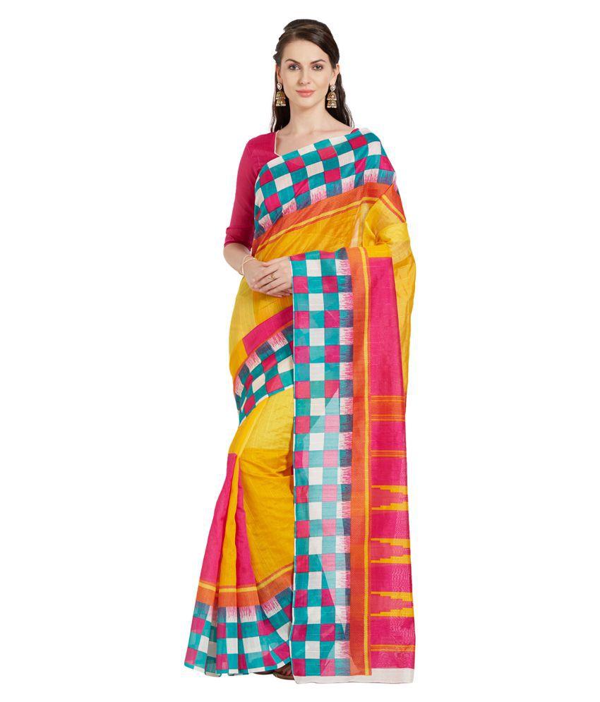 Florence Yellow Bhagalpuri Silk Saree