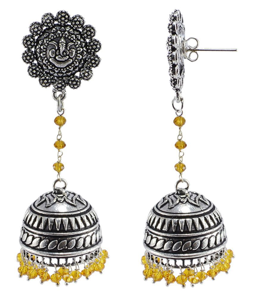 Silvesto India Alluring Ethnic Jewellery 28.8 Grams Citrine Crystal Alloy Oxidized Designer Jhumki Ganesha Earrings PG-107467