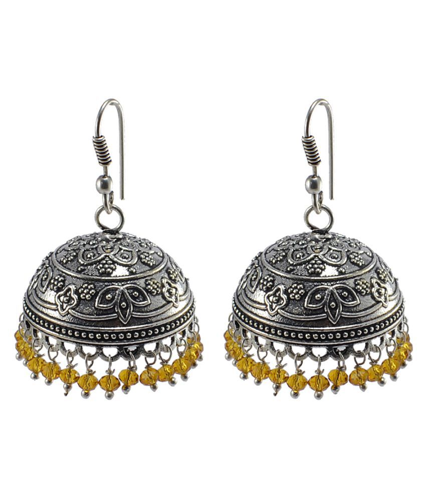 Silvesto India Citrine Crystal Beaded Tribal Crafted Jhumki Hook Earrings PG-106670