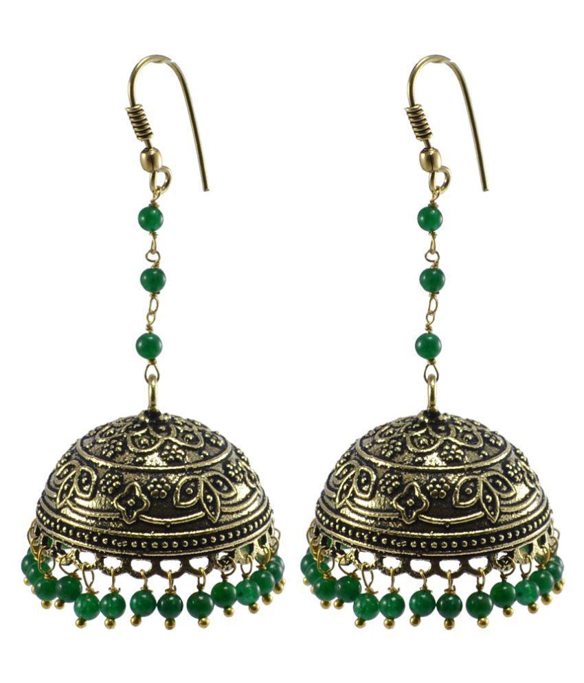 Silvesto India Oxidized Handmade Green Quartz Jhumki Earrings-Tribal jewellery PG-107002