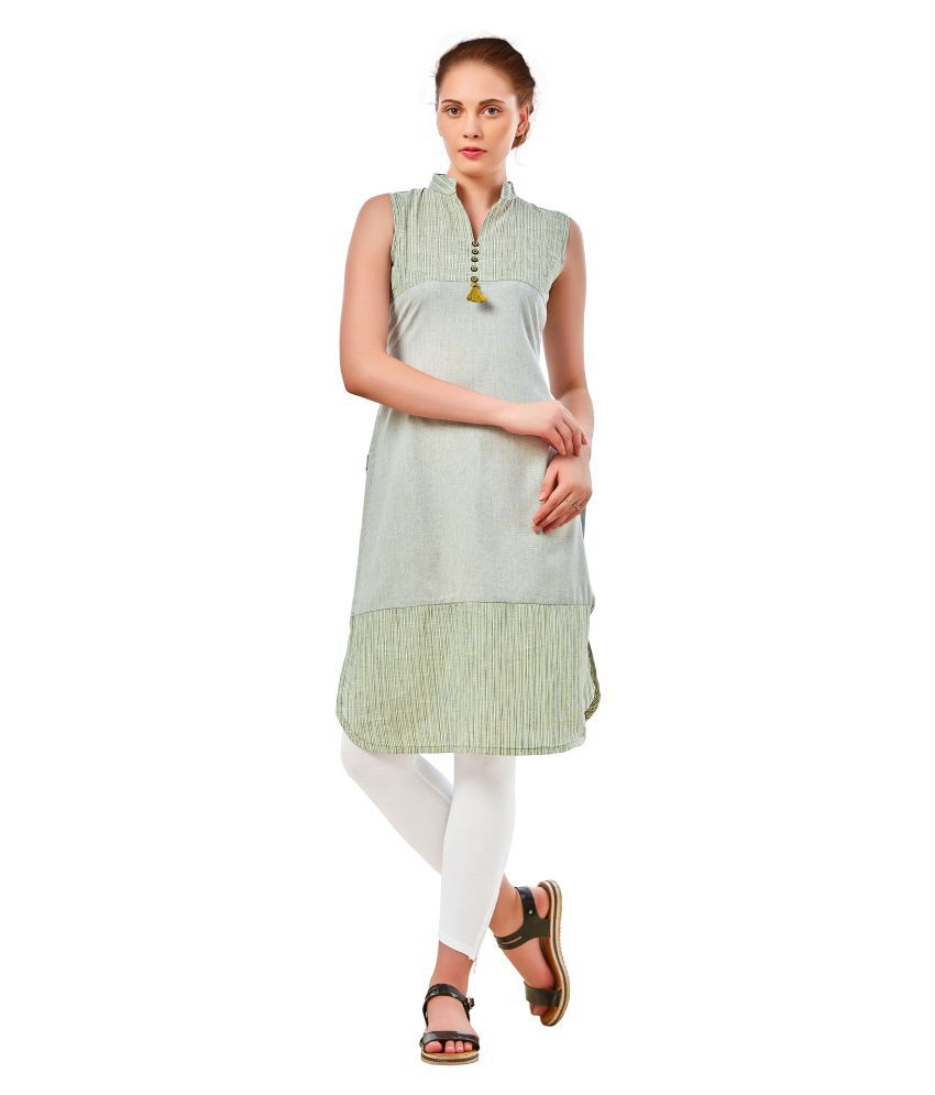 Flibazz Green Poly cotton Straight Kurti