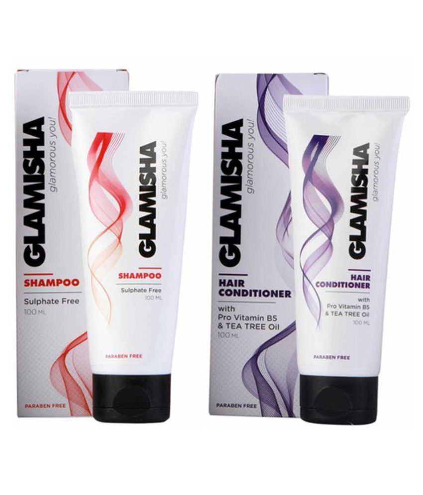 Glamisha Combo of Hair Conditioner 100ML with Pro Vitamin B5 &Tea Tree Oil & Sulphate Free Shampoo 100 ml Pack of 2