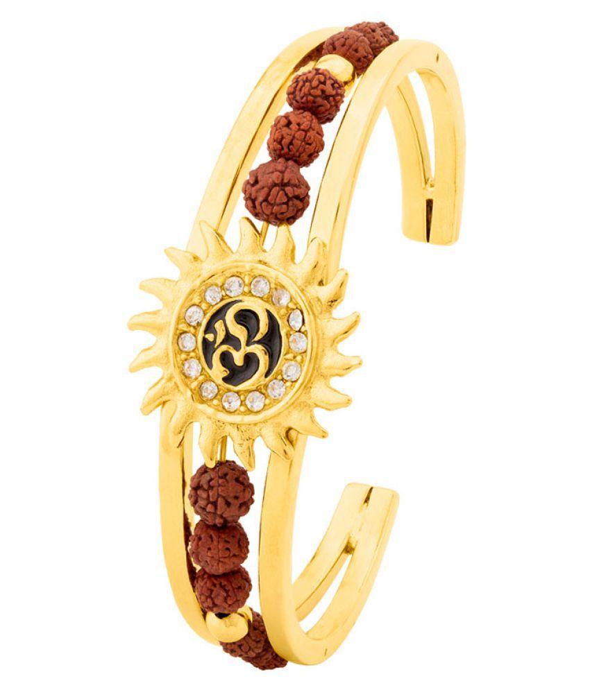 Gold Plated Om Cuff Bracelet with Faux Rudraksha
