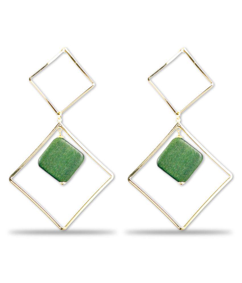 Karatcart Gold Metal Mate Green Geometrical Earrings For Women …