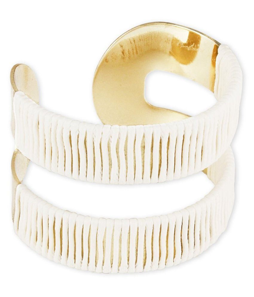 Karatcart Gold Metal White Thread Wrap Cuff Bracelet For Women