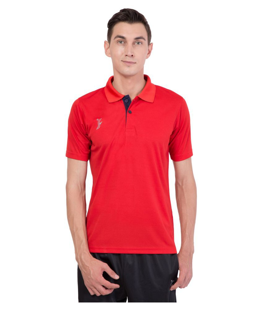 FINO Red Regular Fit Polo T Shirt