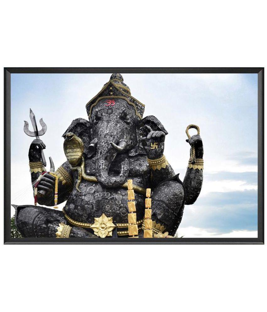 VenTechno GaneshJi Wood Wall Poster With Frame