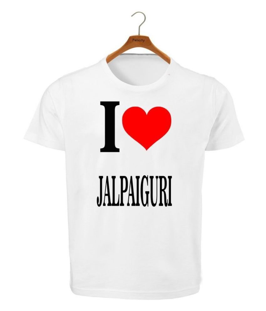RITZEES White Dry Fit Polyester T-Shirt On I Love Jalpaiguri