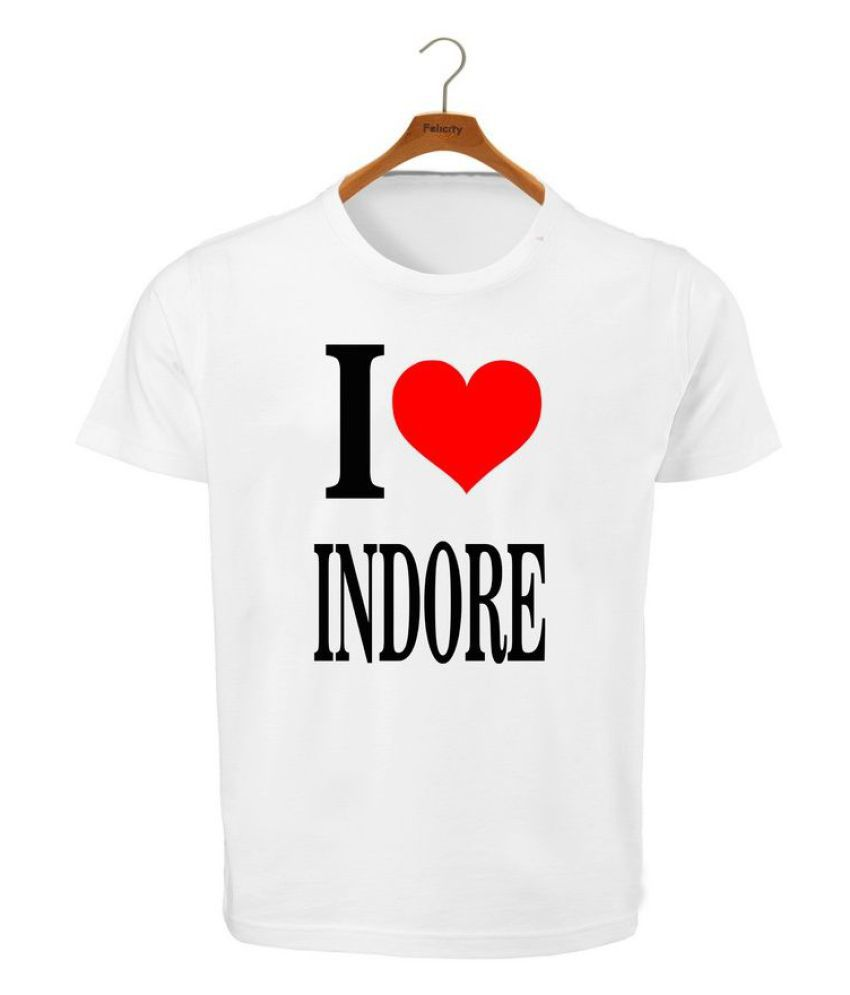 RITZEES White Dry Fit Polyester T-Shirt On I Love Indore