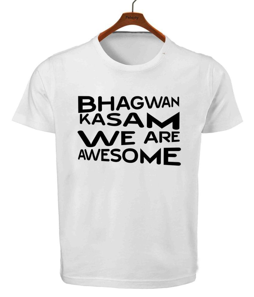 RITZEES White Dry Fit Polyester T-Shirt On Bhagwan Kasam