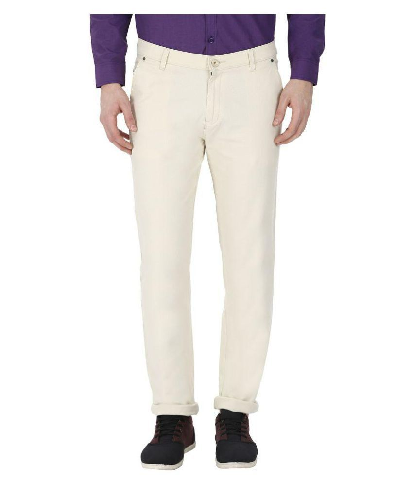 gradely White Regular -Fit Flat Trousers