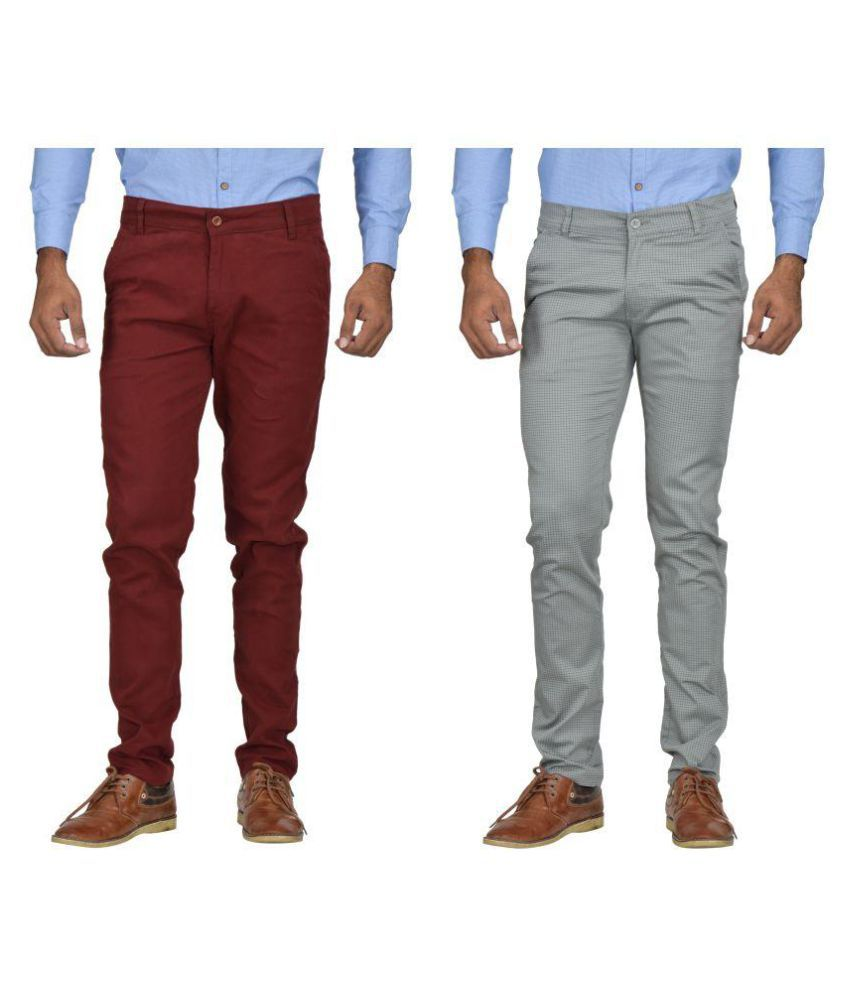 Kushsection Maroon Regular -Fit Flat Chinos