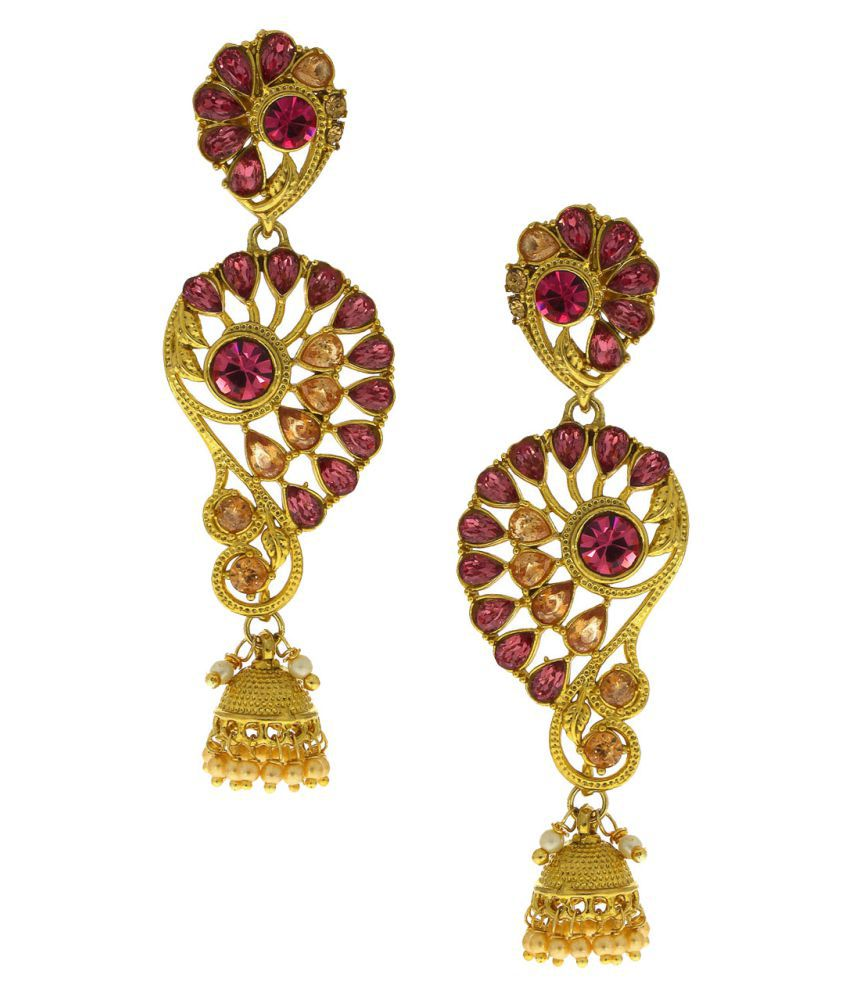 Anuradha Art Golden Colour Studded Peach-Pink Colour Designer Jhumki Styled Traditional Long Earrings For Women/Girls