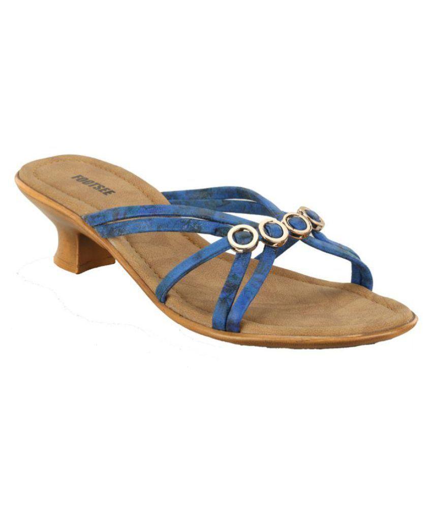 Footsee Blue Kitten Heels