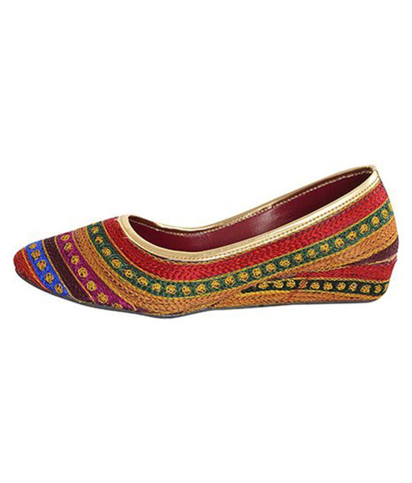 HUE Multi Color Wedges Ethnic Footwear
