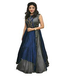 K Brothers Designs Multicoloured Bhagalpuri Silk Anarkali Gown Semi-Stitched Suit