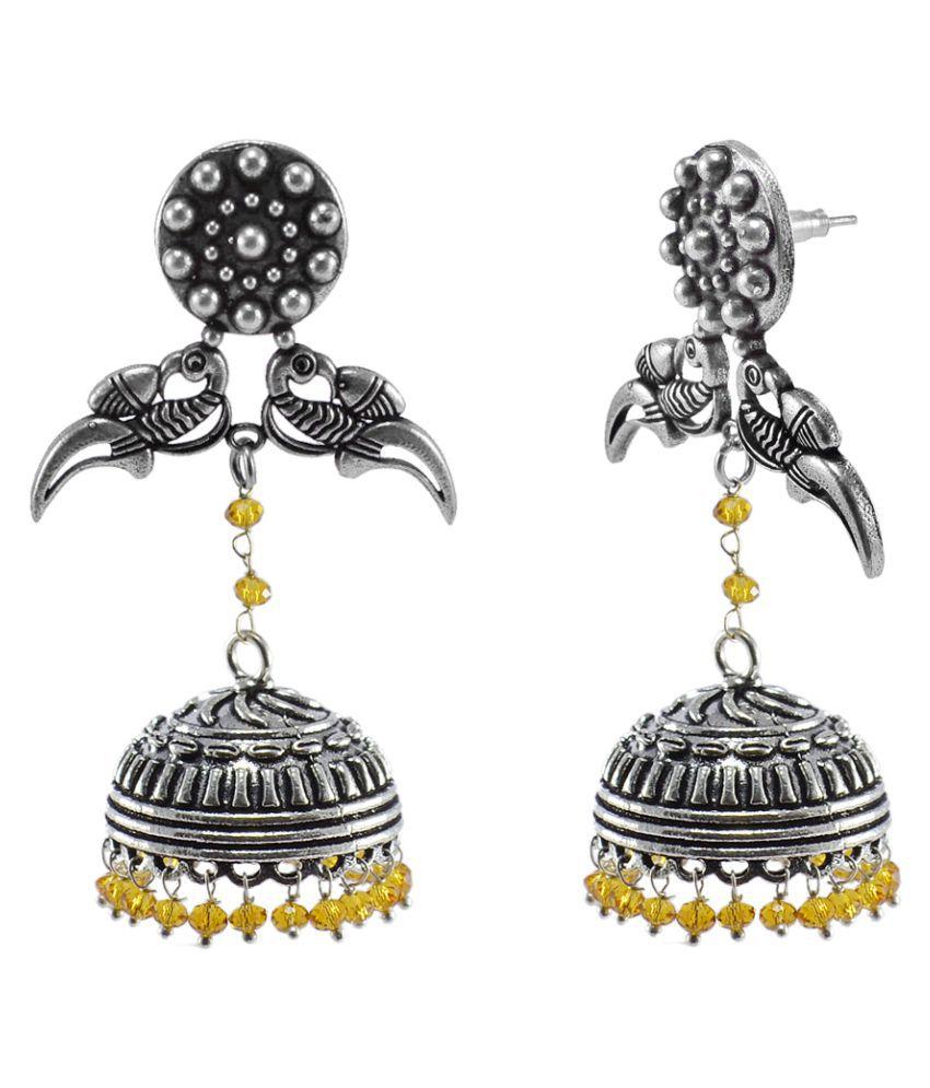 Black Metal Parrot Jhumki With Citrine Crystal-Jaipur Jhumkas-Unique Earrings-Dome Earring-Indian Wedding Jewellery Silvesto India PG-111468