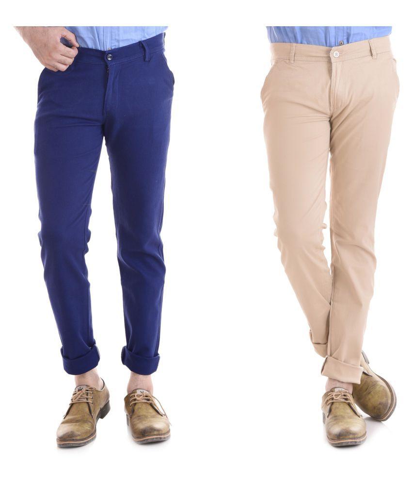 Kushsection Blue Regular -Fit Flat Chinos