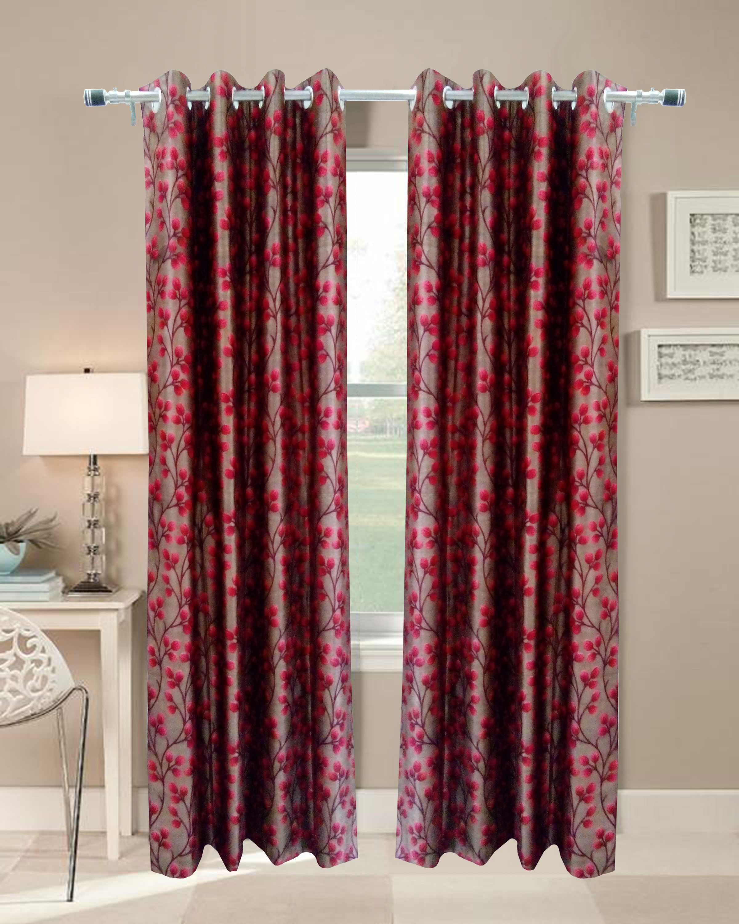 Homefab India Set of 2 Door Eyelet Curtains Floral Multi Color