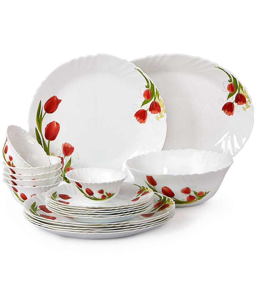 Cello Red Bloom Opalware Dinner Set 20 Pieces Buy