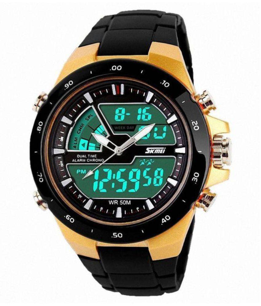 Skmei 1016-Gold Chronograph Analog-Digital Watch - For ...