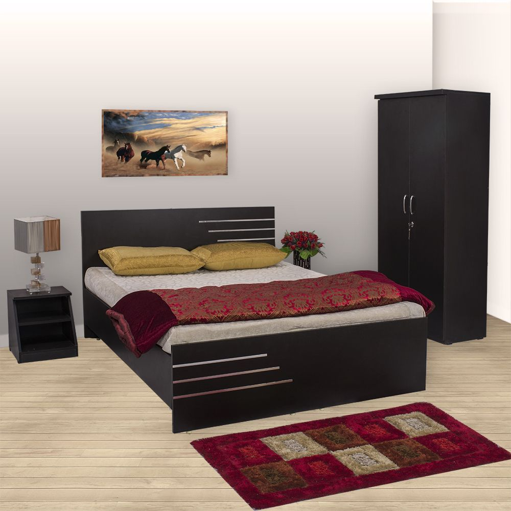 Bls amsterdam bedroom set queen bed wardrobe side for Bedroom set with bed