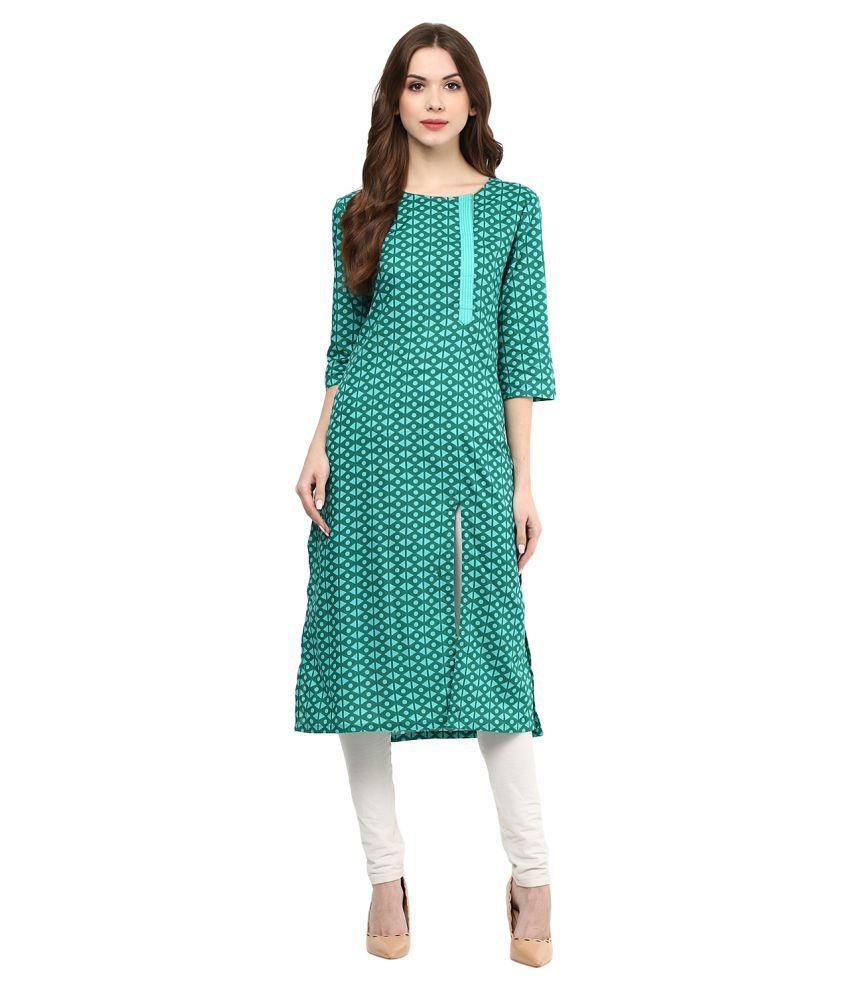 Harshaya G GREEN Rayon A-line Kurti