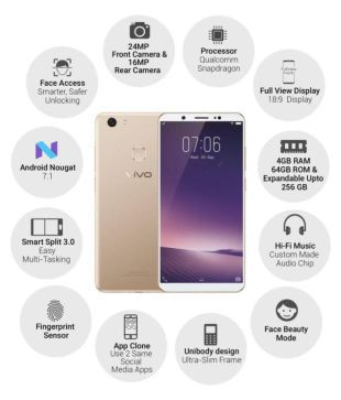 Vivo 1716 (V7+) ( 64GB , 4 GB ) Gold Mobile Phones Online at