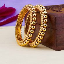 Jewels Galaxy Limited Edition Delicate Design Fabulous Gold Plated Traditional Bangle Set For Women/Girls - Set Of 2
