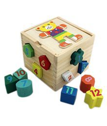 Shape Sorter 12 Geometric Blocks - (WNTb078) - Wooden Puzzles for Toddler Number Shape Color Recognition