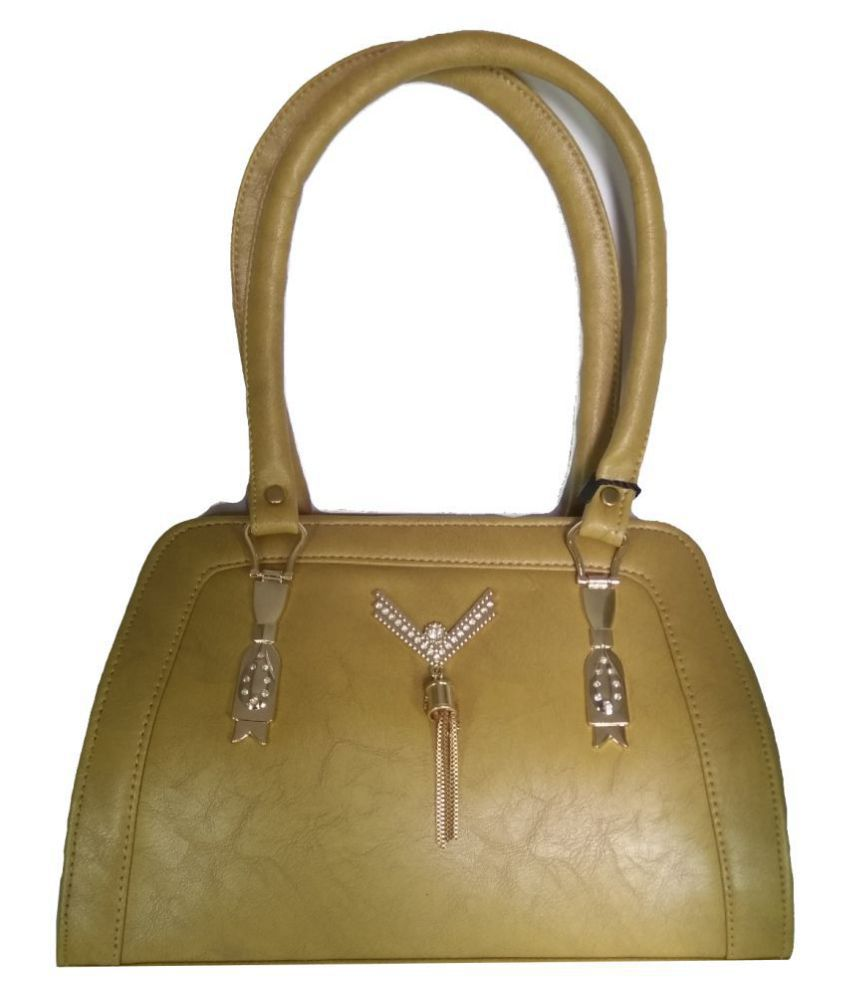 AZED Collections Gold Faux Leather Satchel Bag
