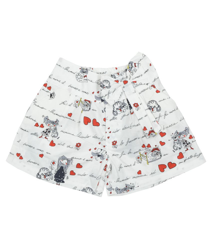 Carrel Cotton Fabric Girls Cream Short