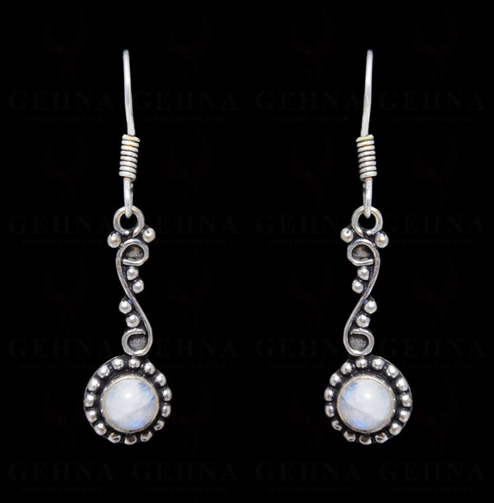 White Moonstone Earring In .925 Silver Overlay