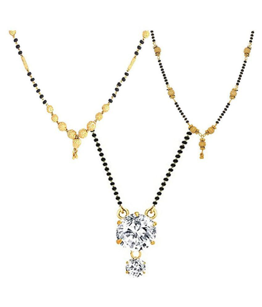 Zeneme Combo of 3 Gold Plated Mangalsutra Necklace for Women