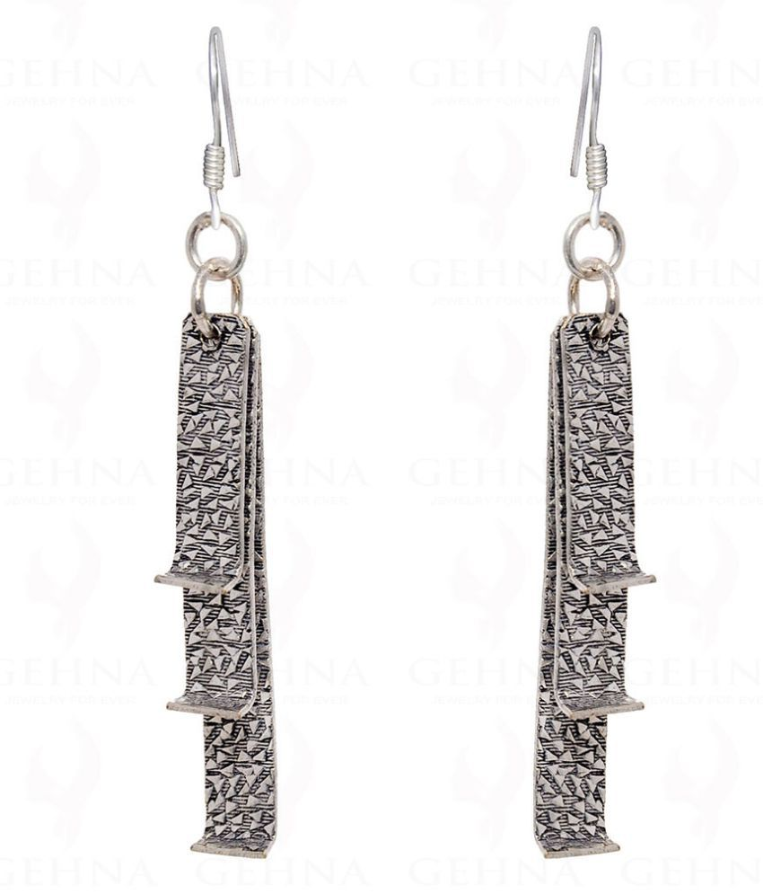 Antique Shaped Oxidized Earring In .925 Silver Overlay
