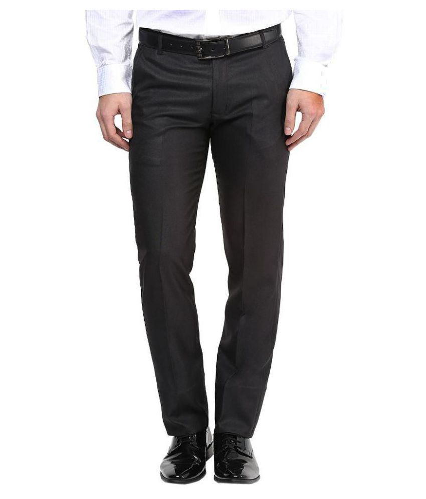 BUKKL Black Slim -Fit Flat Trousers