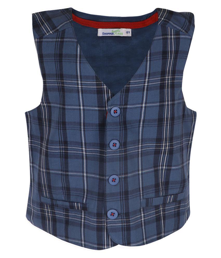 ShopperTree Linen Striped Checked Waist Coat for Girls